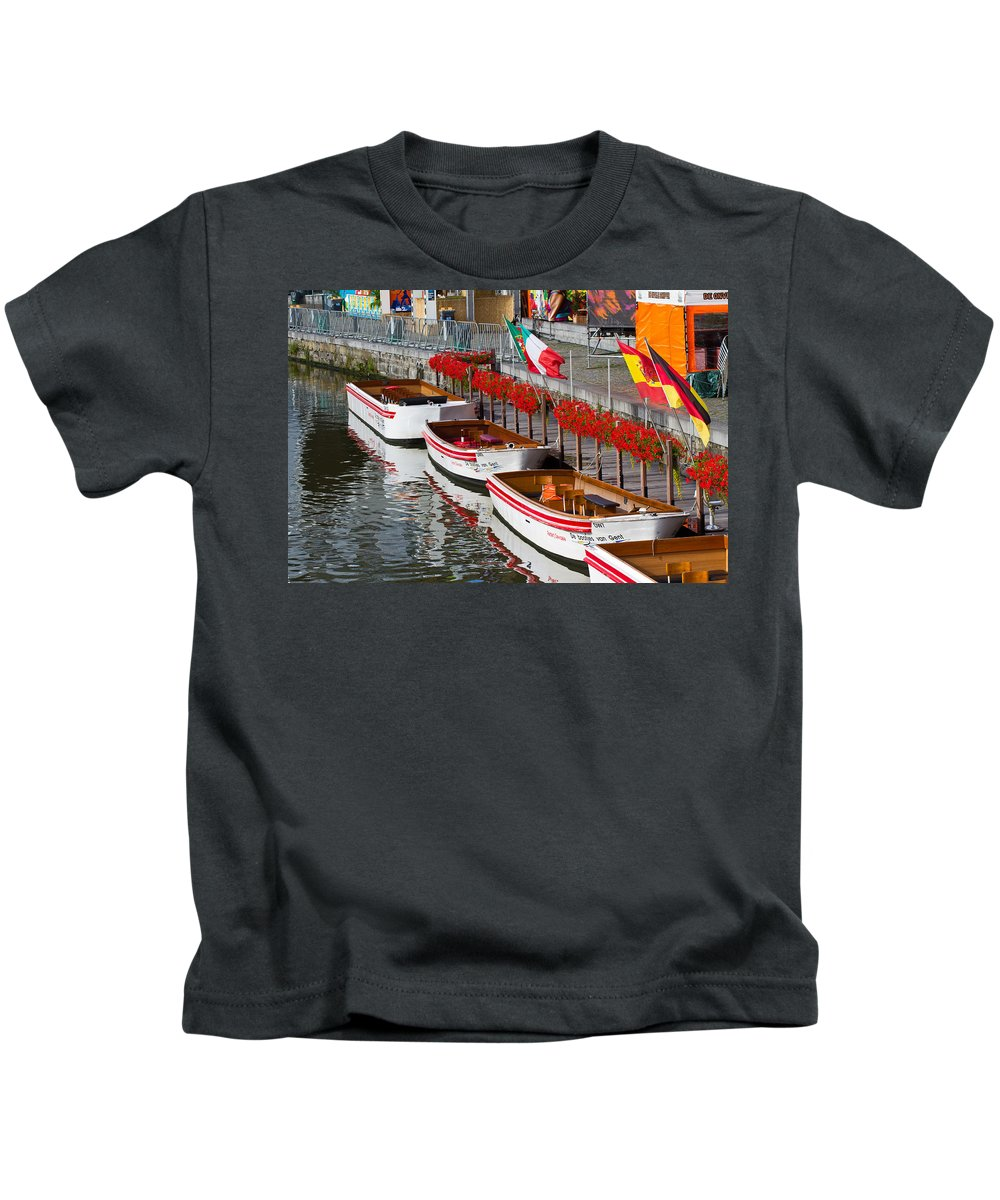Europe Kids T-Shirt featuring the photograph Tour Boats by David Freuthal