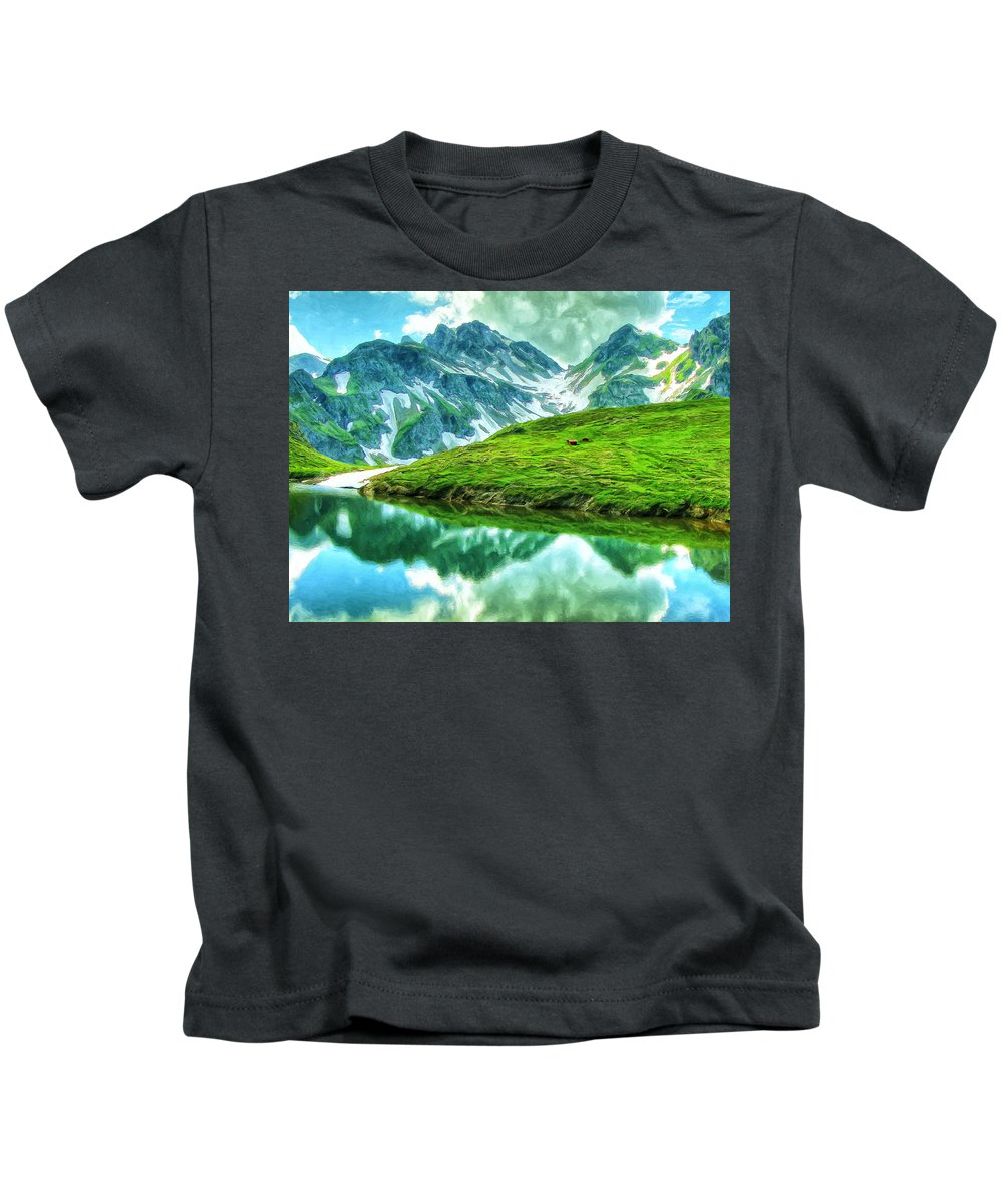 Alps Kids T-Shirt featuring the painting Travelers Rest Swiss Alps by Dominic Piperata
