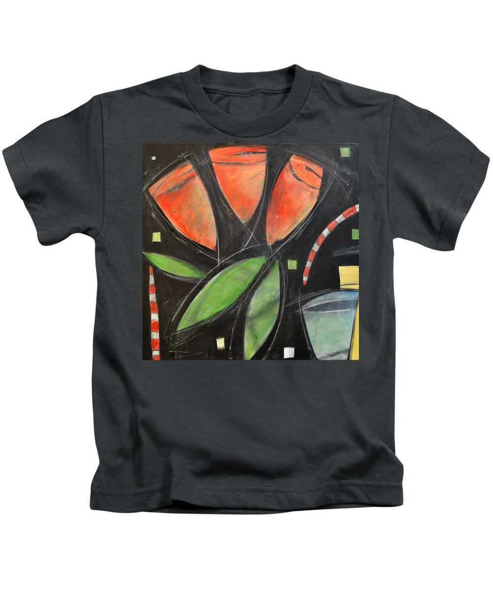 Tulips Kids T-Shirt featuring the painting Tulips And Water Glass by Tim Nyberg
