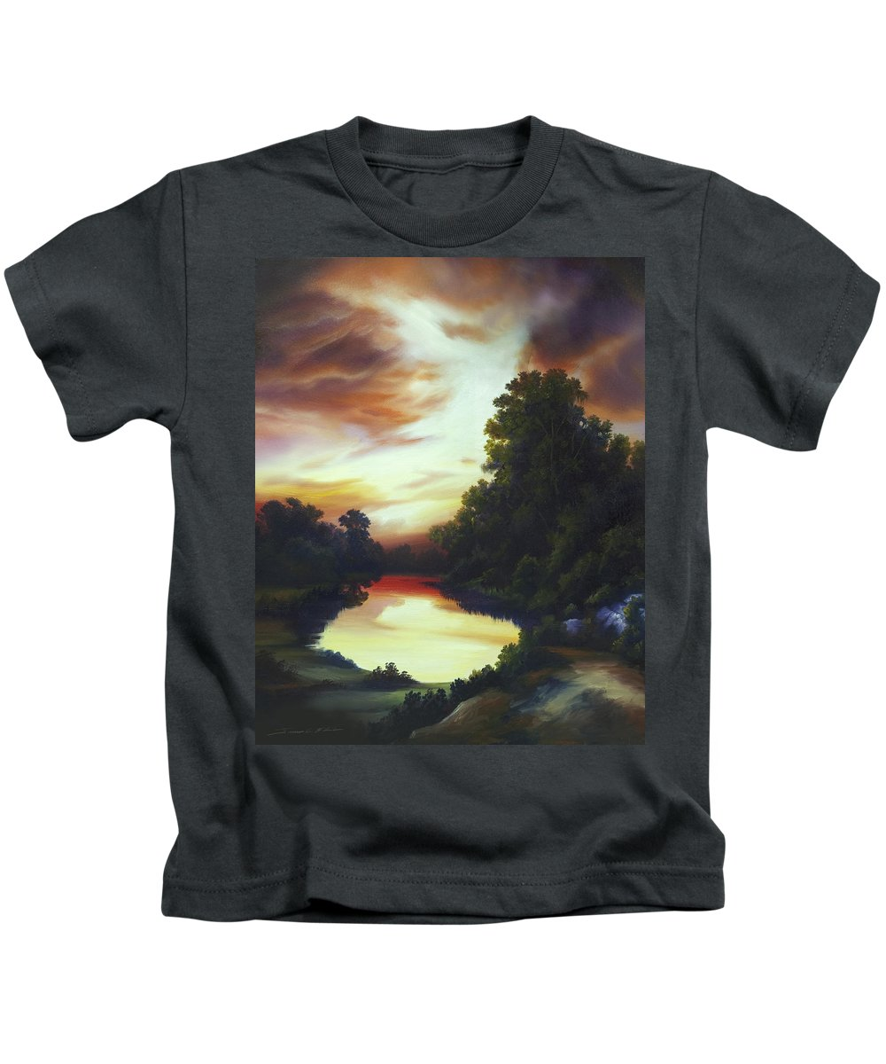 Nature; Lake; Sunset; Sunrise; Serene; Forest; Trees; Water; Ripples; Clearing; Lagoon; James Christopher Hill; Jameshillgallery.com; Foliage; Sky; Realism; Oils Kids T-Shirt featuring the painting Turner's Sunrise by James Christopher Hill