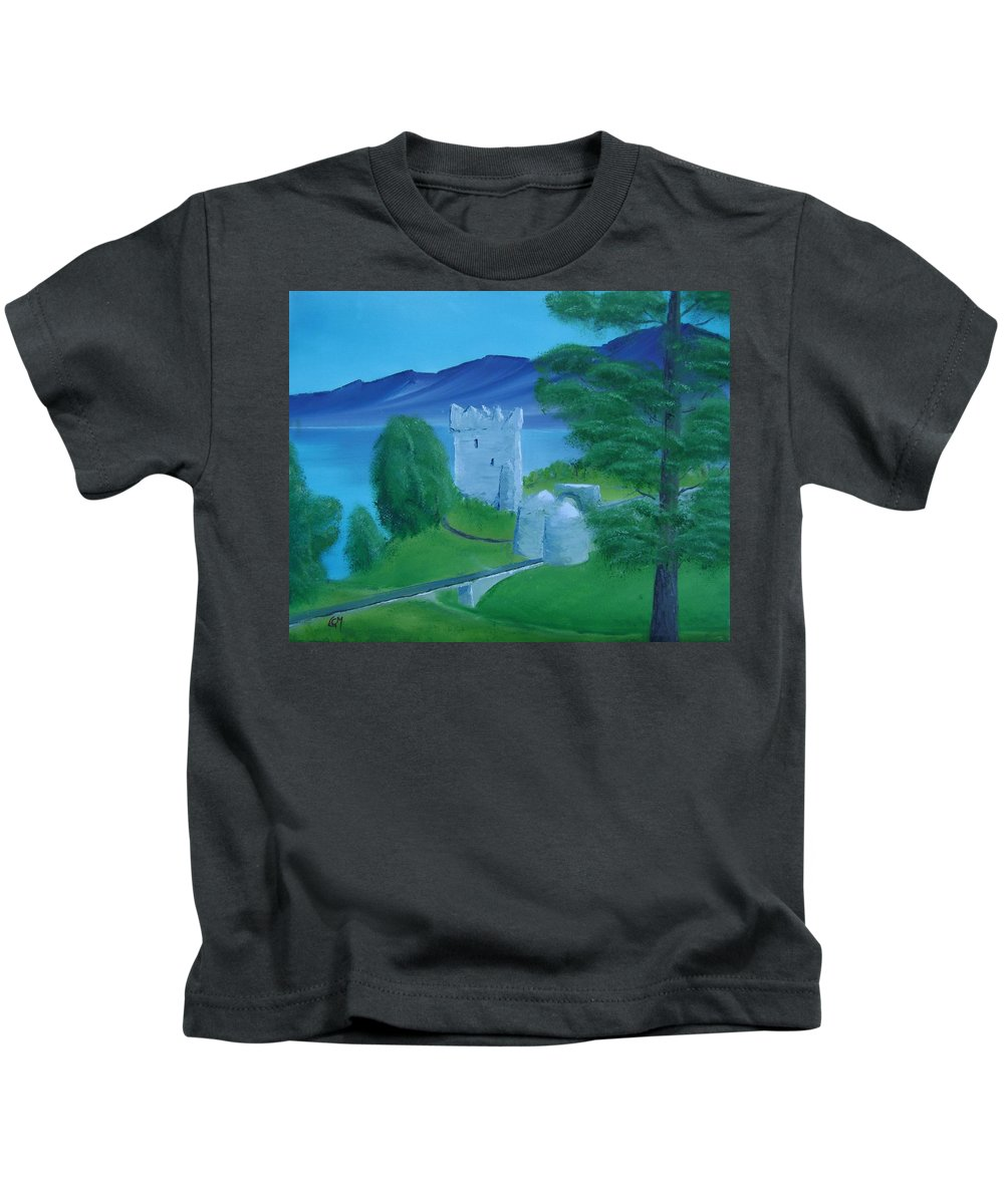 Painting Kids T-Shirt featuring the painting Urquhart Castle by Charles and Melisa Morrison