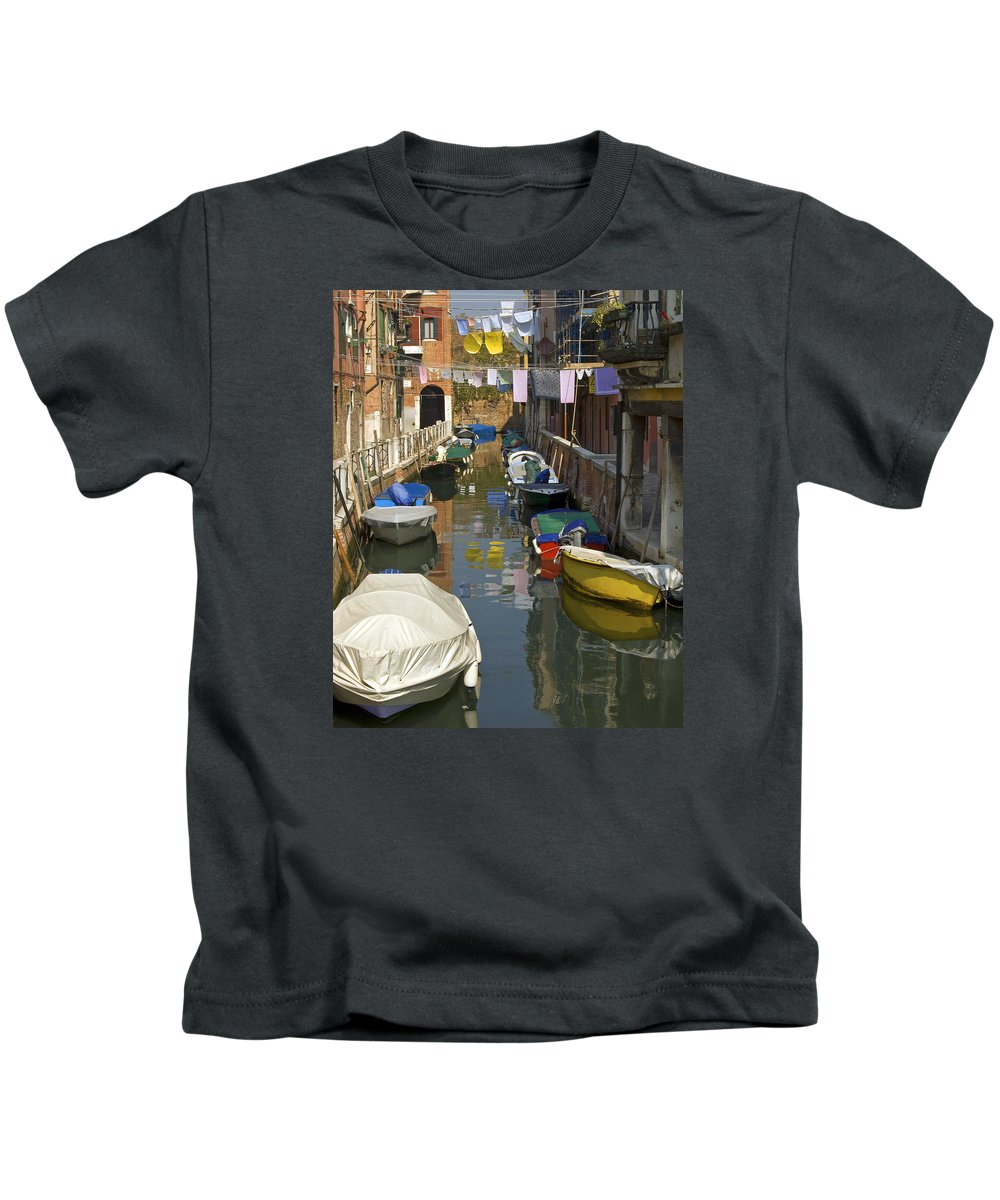 Venice Kids T-Shirt featuring the photograph Venice Laundry by Dave Saltonstall