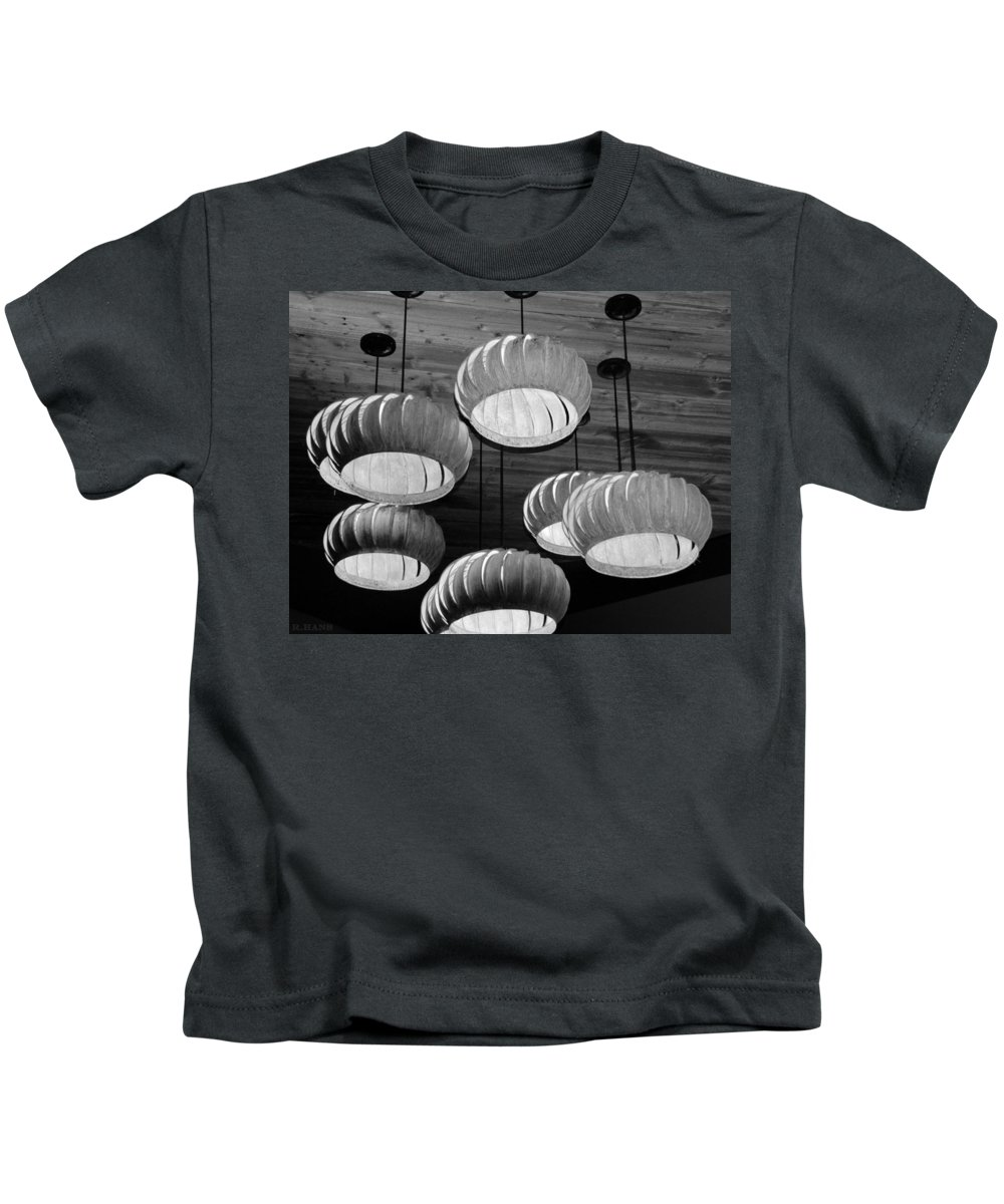 Lights Kids T-Shirt featuring the photograph Vented Lights In Black And White by Rob Hans