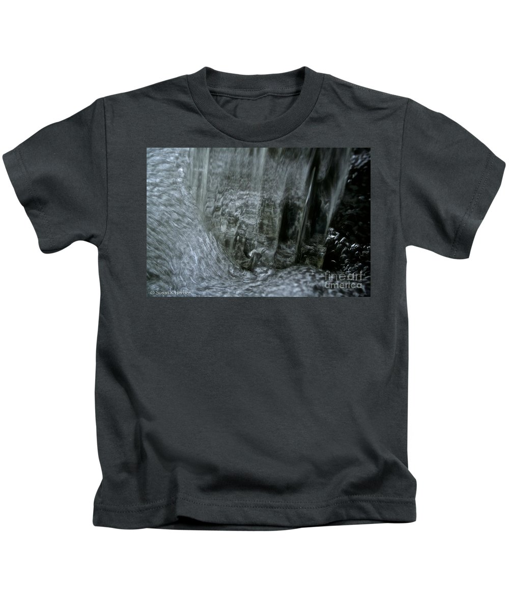 Outdoors Kids T-Shirt featuring the photograph Water Wall And Whirling Bubbles by Susan Herber