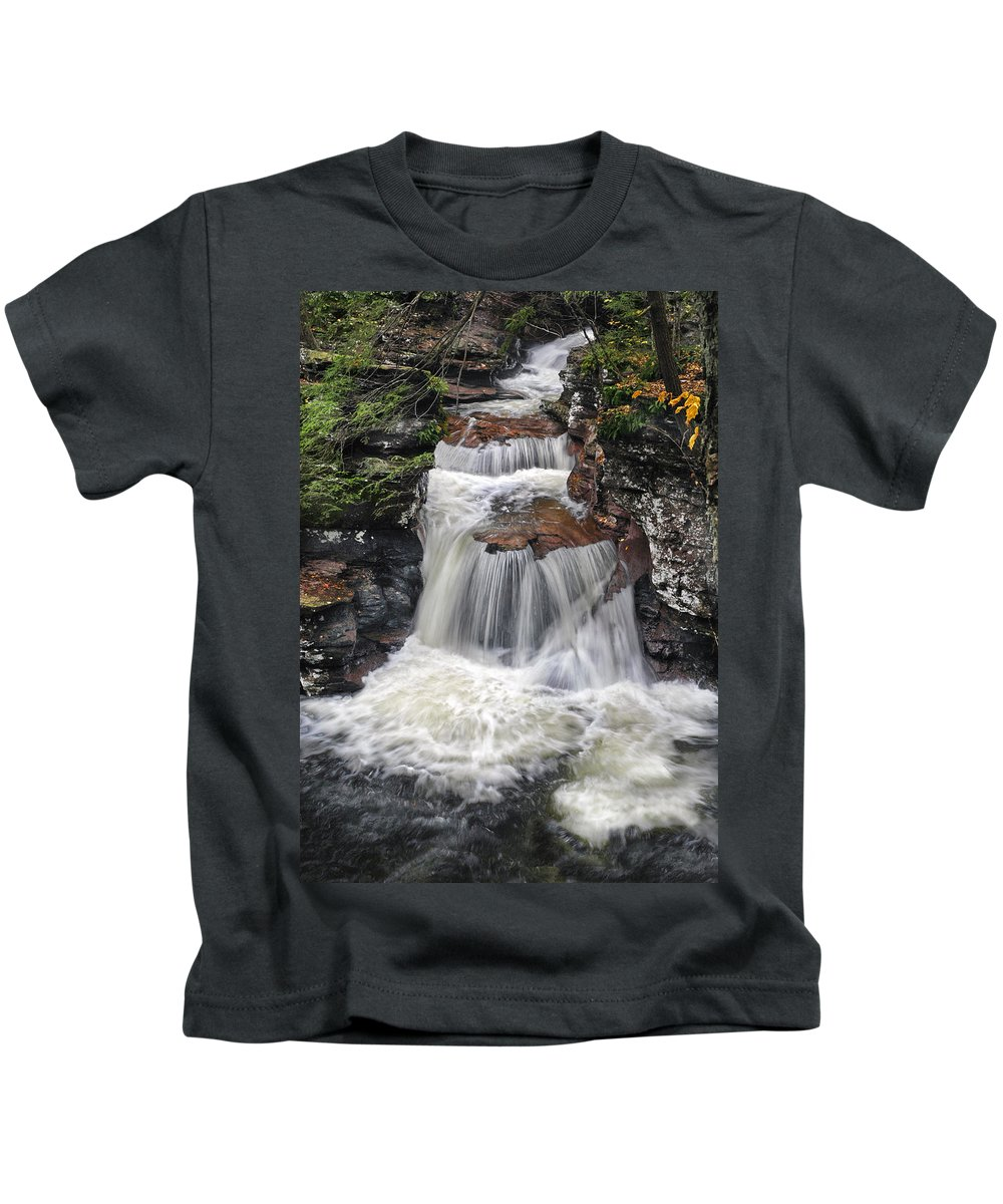 Waterfall Kids T-Shirt featuring the photograph Waterfall At Ricketts Glen by Dave Mills