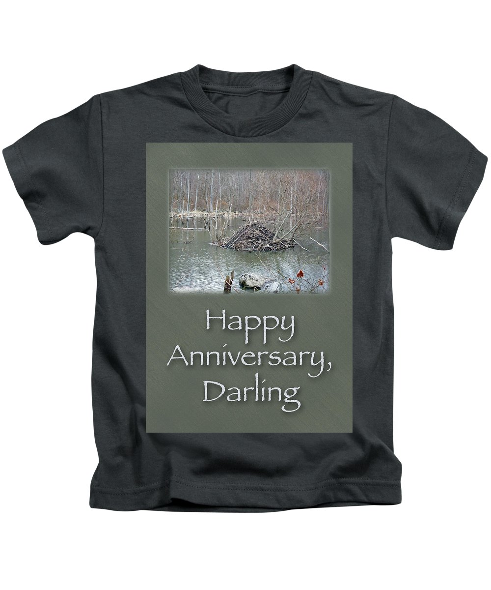Anniversary Kids T-Shirt featuring the photograph Wedding Anniversary Card - Beaver Lodge by Mother Nature
