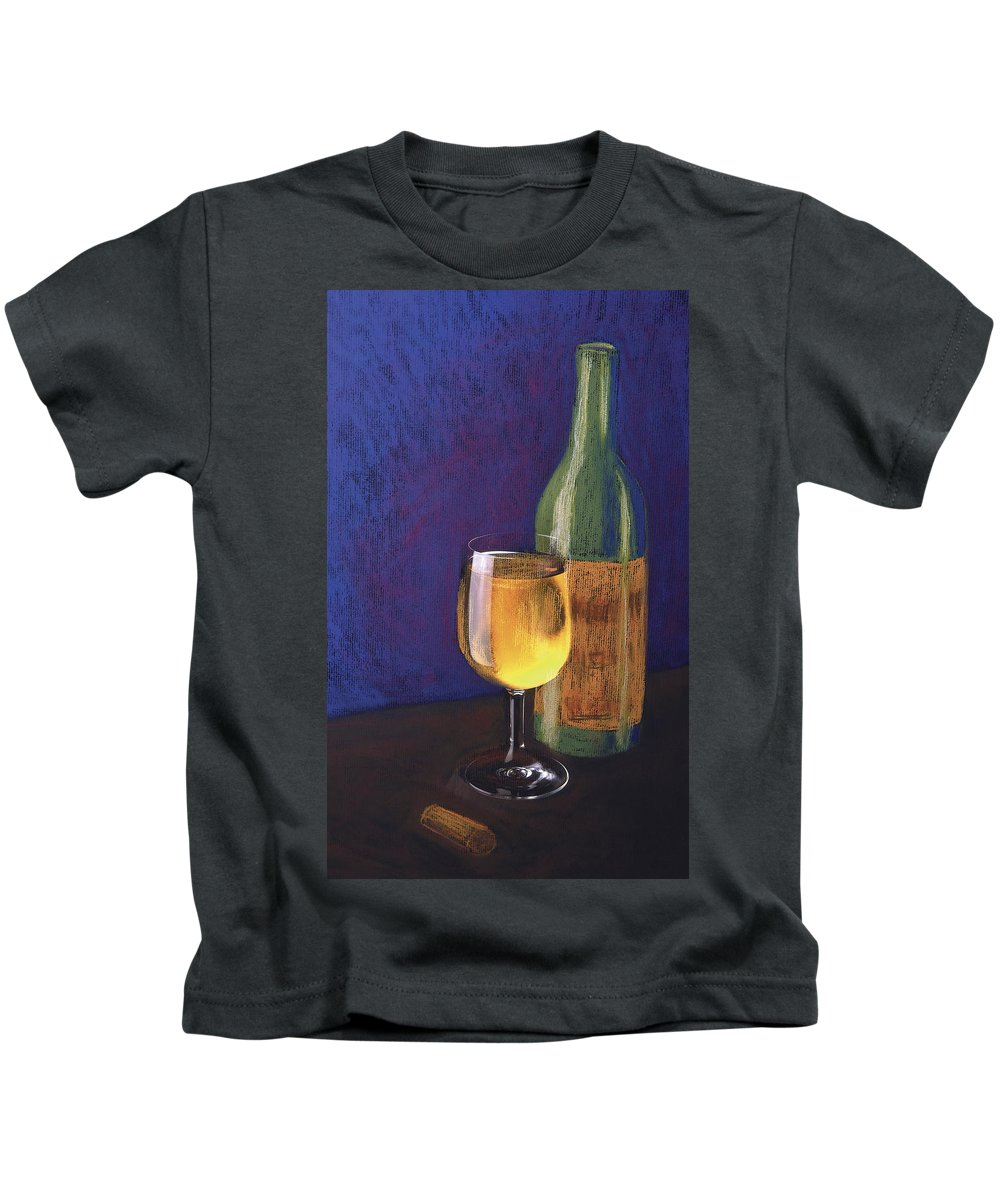 Wine And Bottle Kids T-Shirt featuring the mixed media White Wine by Garry McMichael
