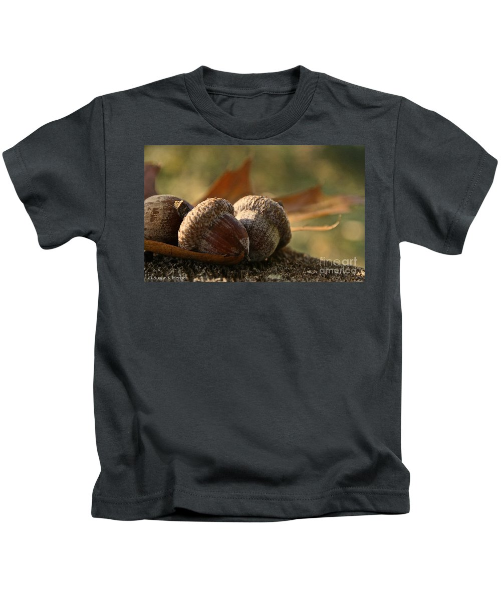 Outdoors Kids T-Shirt featuring the photograph Wild Nuts by Susan Herber