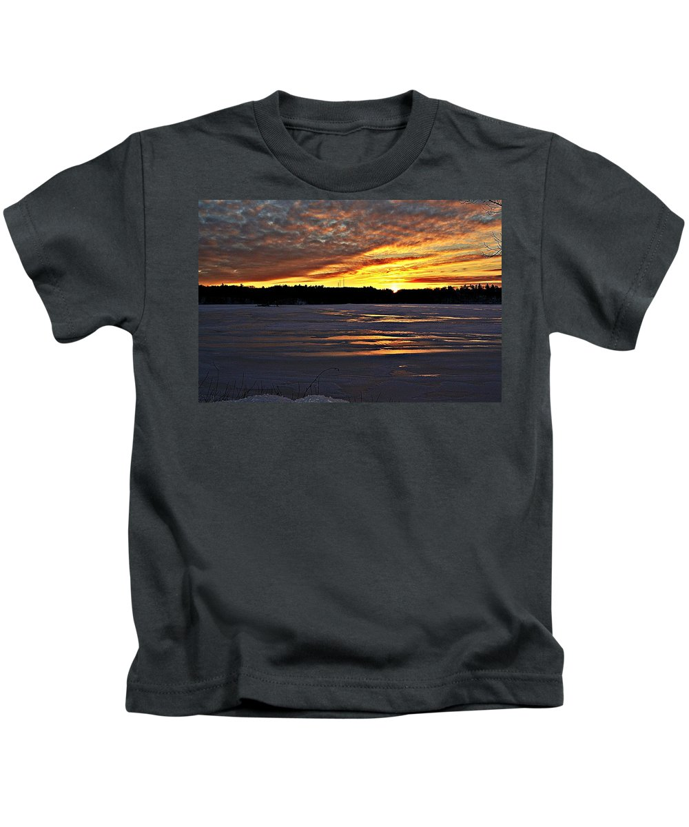 Winter Kids T-Shirt featuring the photograph Winter Sunset Iv by Joe Faherty