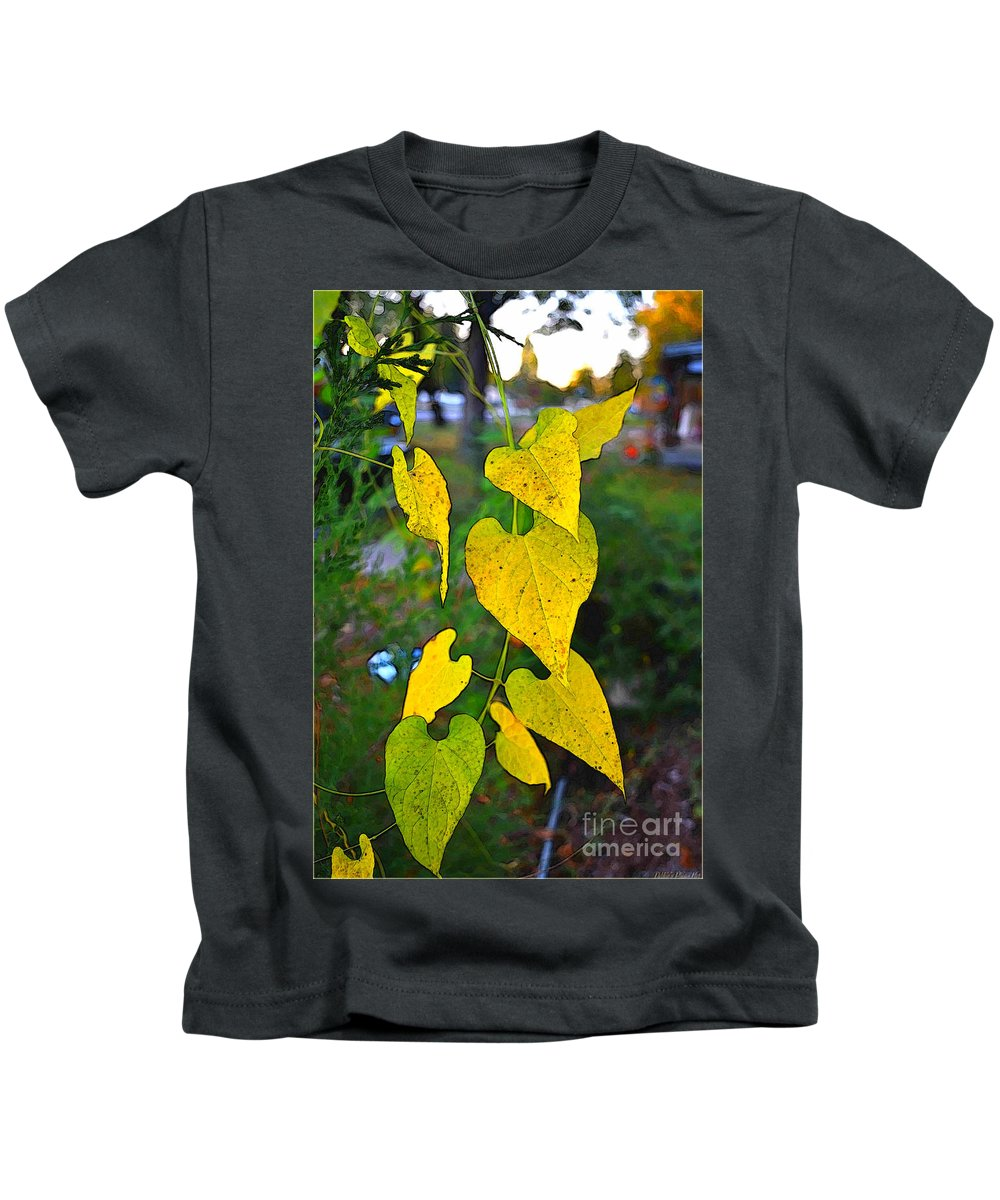 Leaves Kids T-Shirt featuring the photograph Yellow Heart Leaves Photoart I by Debbie Portwood