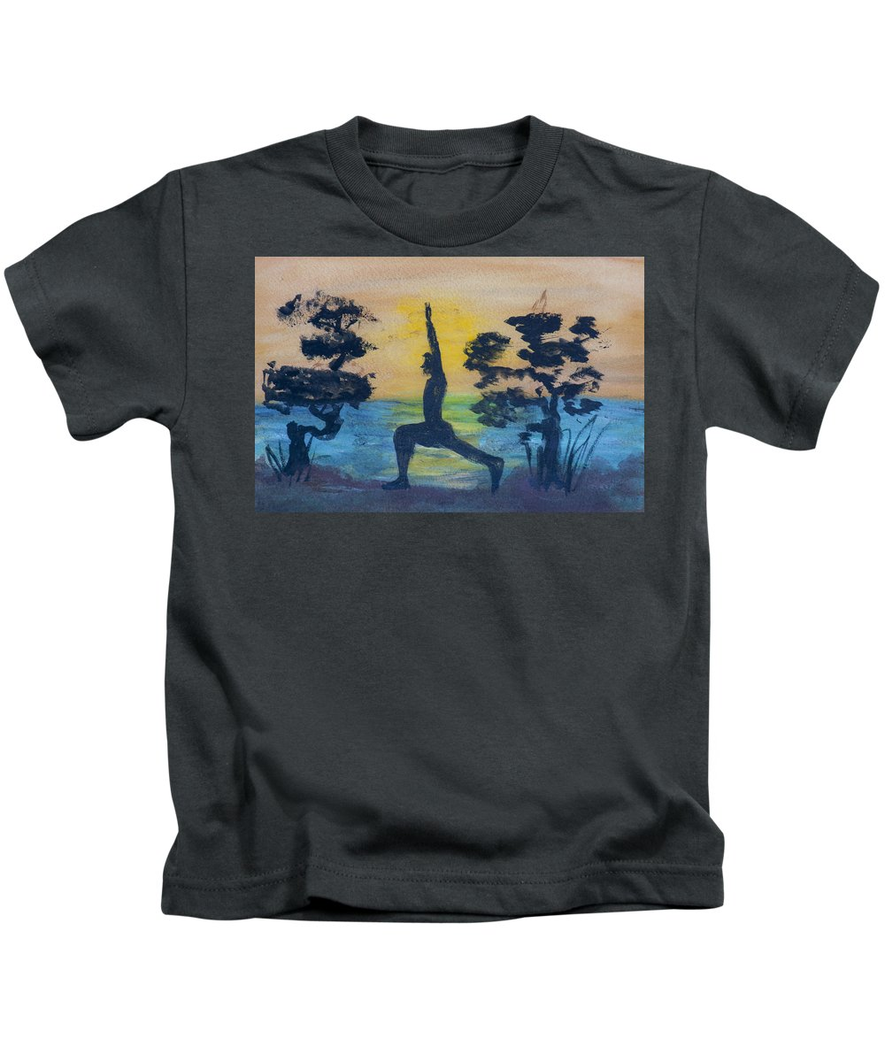 Yoga High Lunge Pose Kids T-Shirt featuring the painting Yoga High Lunge Pose by Donna Walsh