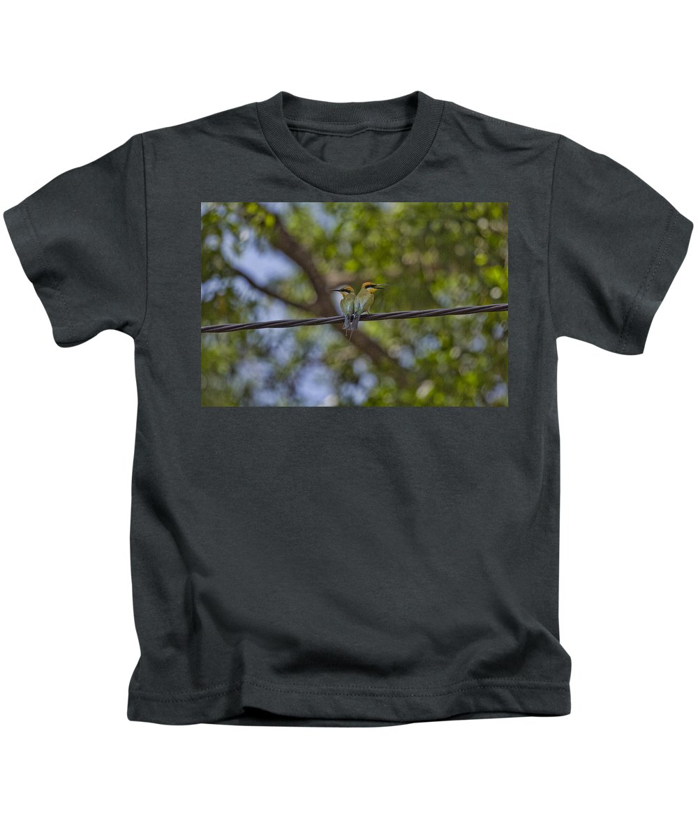 Rainbow Bee-eaters Kids T-Shirt featuring the photograph You Watch My Back And I Will Watch Yours by Douglas Barnard