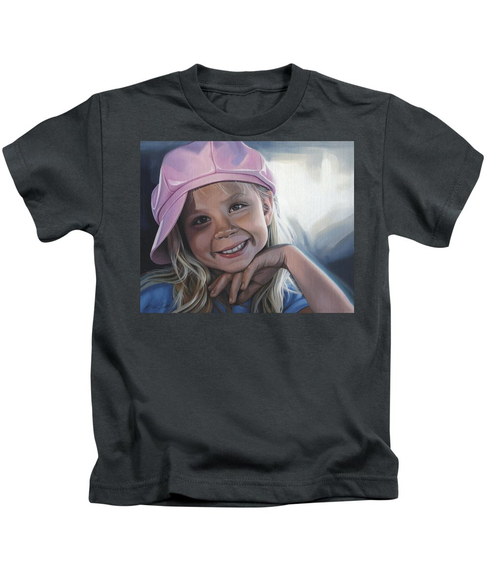 Portrait Kids T-Shirt featuring the painting Young Girl In Pink Hat by Steven Tetlow