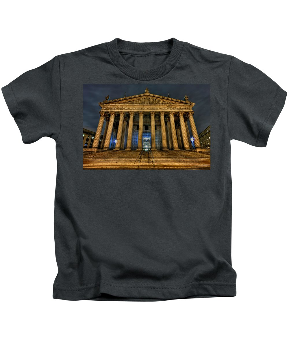 Architecture Kids T-Shirt featuring the photograph ... And Justice For All by Evelina Kremsdorf