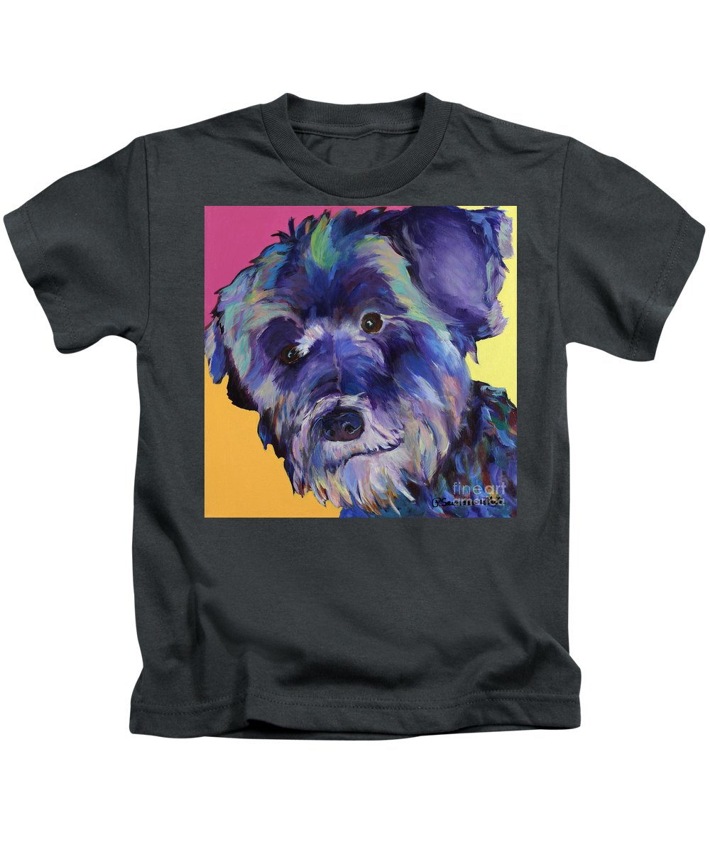 Schnauzer Acrylic Painting Kids T-Shirt featuring the painting Beau by Pat Saunders-White