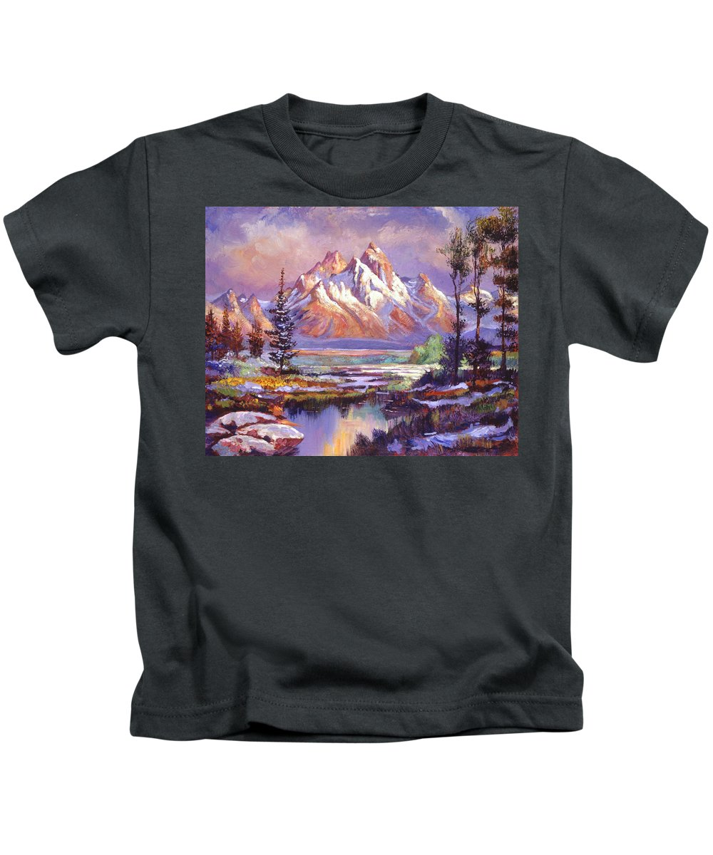 Landscape Kids T-Shirt featuring the painting Breaking Winter Sunlight by David Lloyd Glover