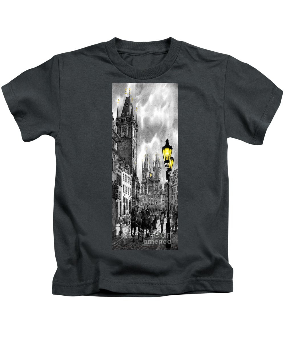 Geelee.watercolour Paper Kids T-Shirt featuring the painting Bw Prague Old Town Squere by Yuriy Shevchuk