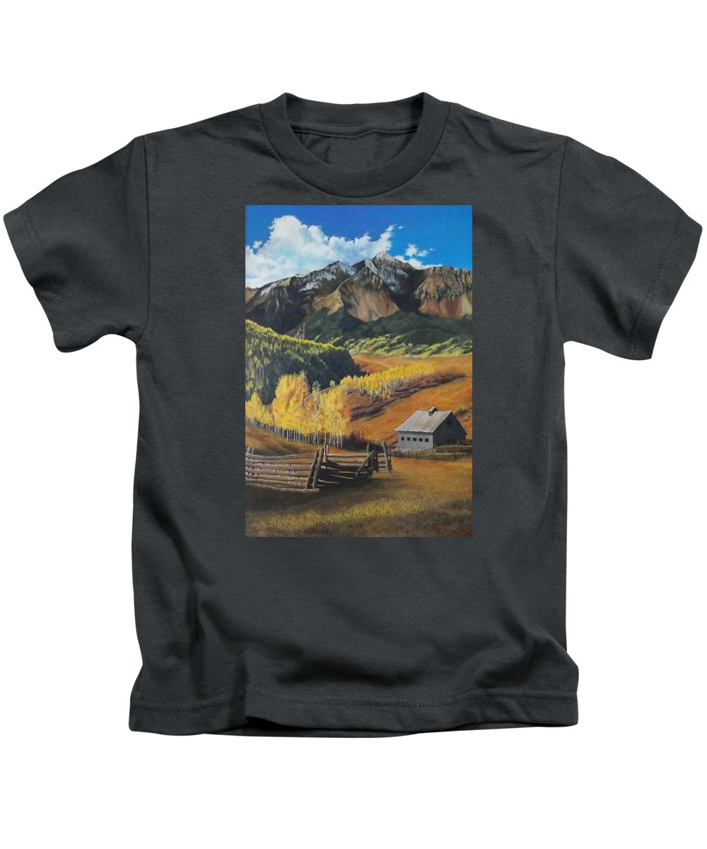 Colorado Rockies Kids T-Shirt featuring the painting I Will Lift Up My Eyes to the Hills Autumn Nostalgia Wilson Peak Colorado by Anastasia Savage Ealy
