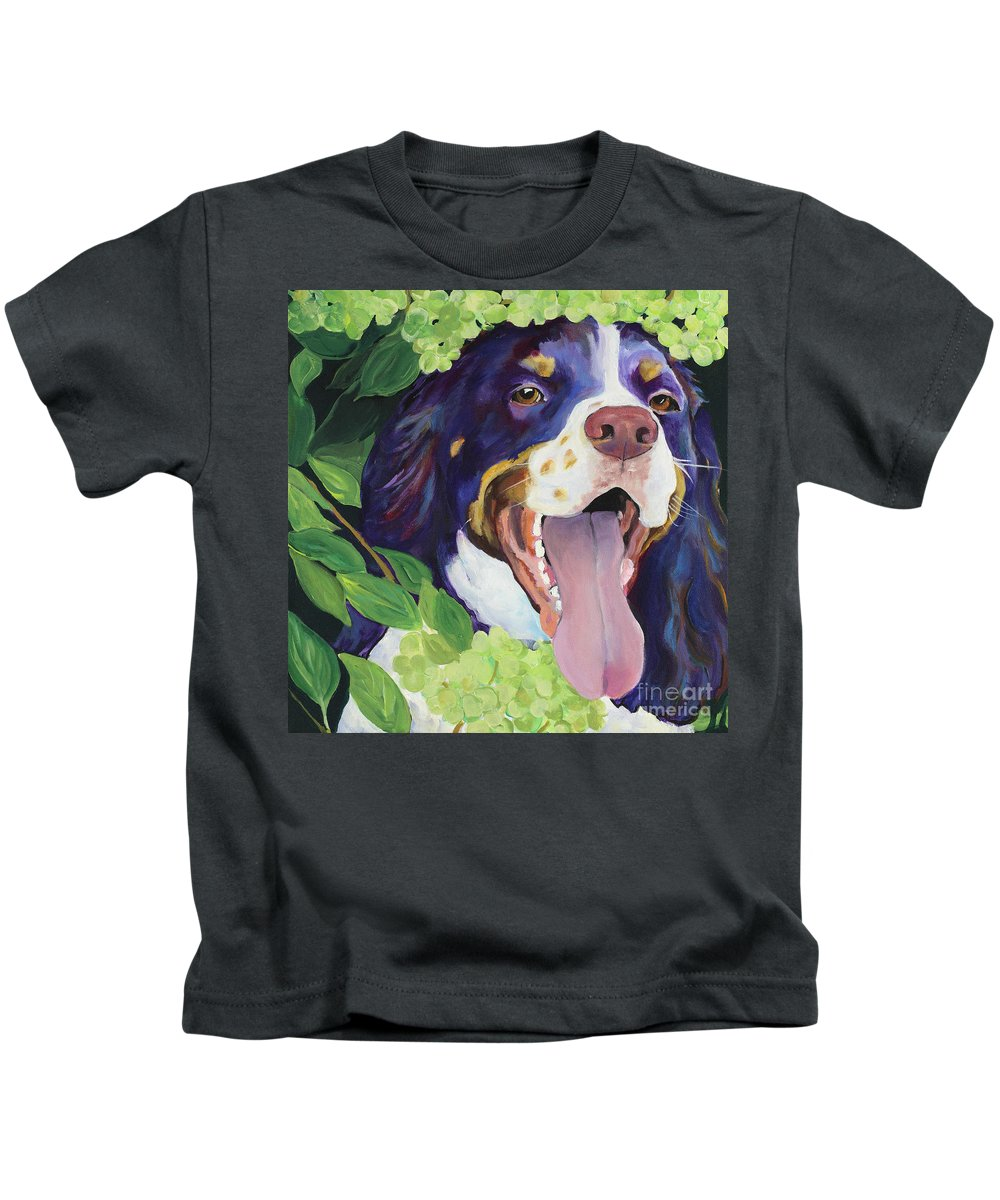 Dog Painting Kids T-Shirt featuring the painting Peek-A-Boo by Pat Saunders-White