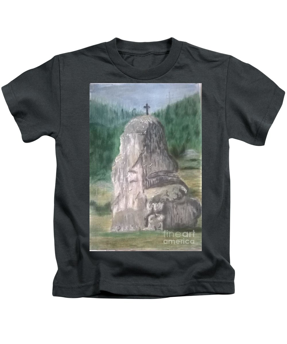 Landscape Kids T-Shirt featuring the painting ,, Piatra Teiului,, by Aioanei Andreea