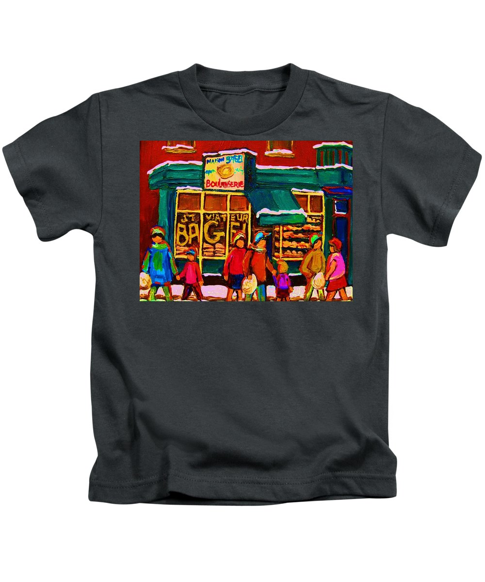St. Viateur Bagel Kids T-Shirt featuring the painting St. Viateur Bagel Family Bakery by Carole Spandau