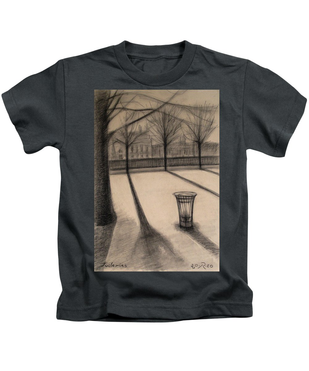 Paris Kids T-Shirt featuring the drawing The Evening In Tuileries Paris by Raimonda Jatkeviciute-Kasparaviciene