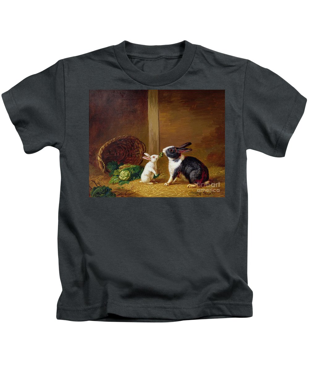 Two Kids T-Shirt featuring the painting Two Rabbits by H Baert