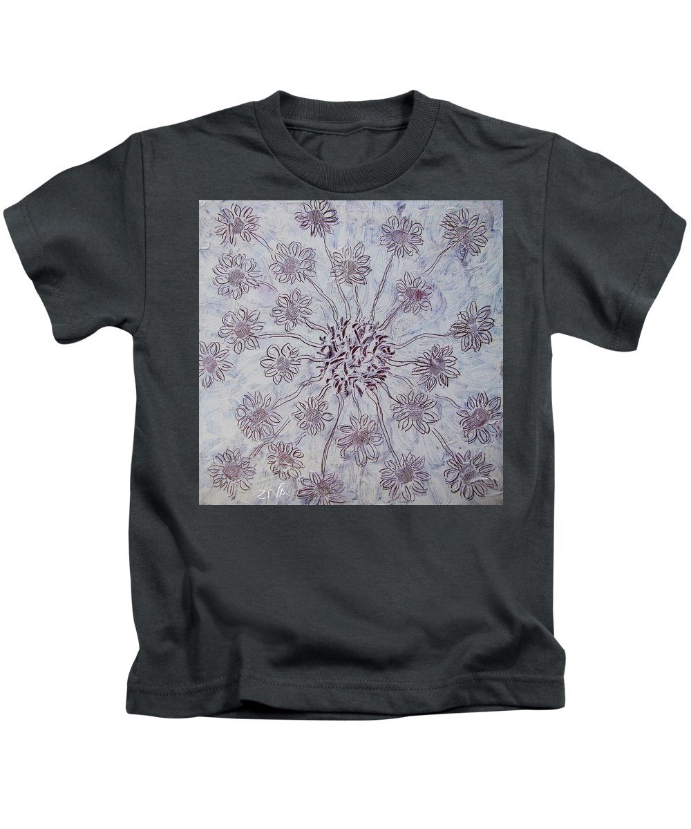 Kids T-Shirt featuring the painting White Flower by Ziva Ben Arav