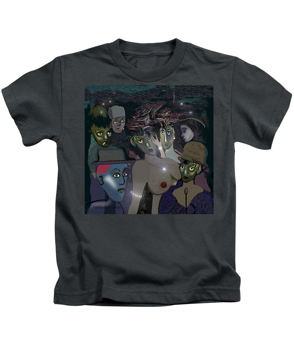 015 Berlin The 1920s Kids T-Shirt featuring the painting 015 - Berlin The 1920s - The Shining by Irmgard Schoendorf Welch