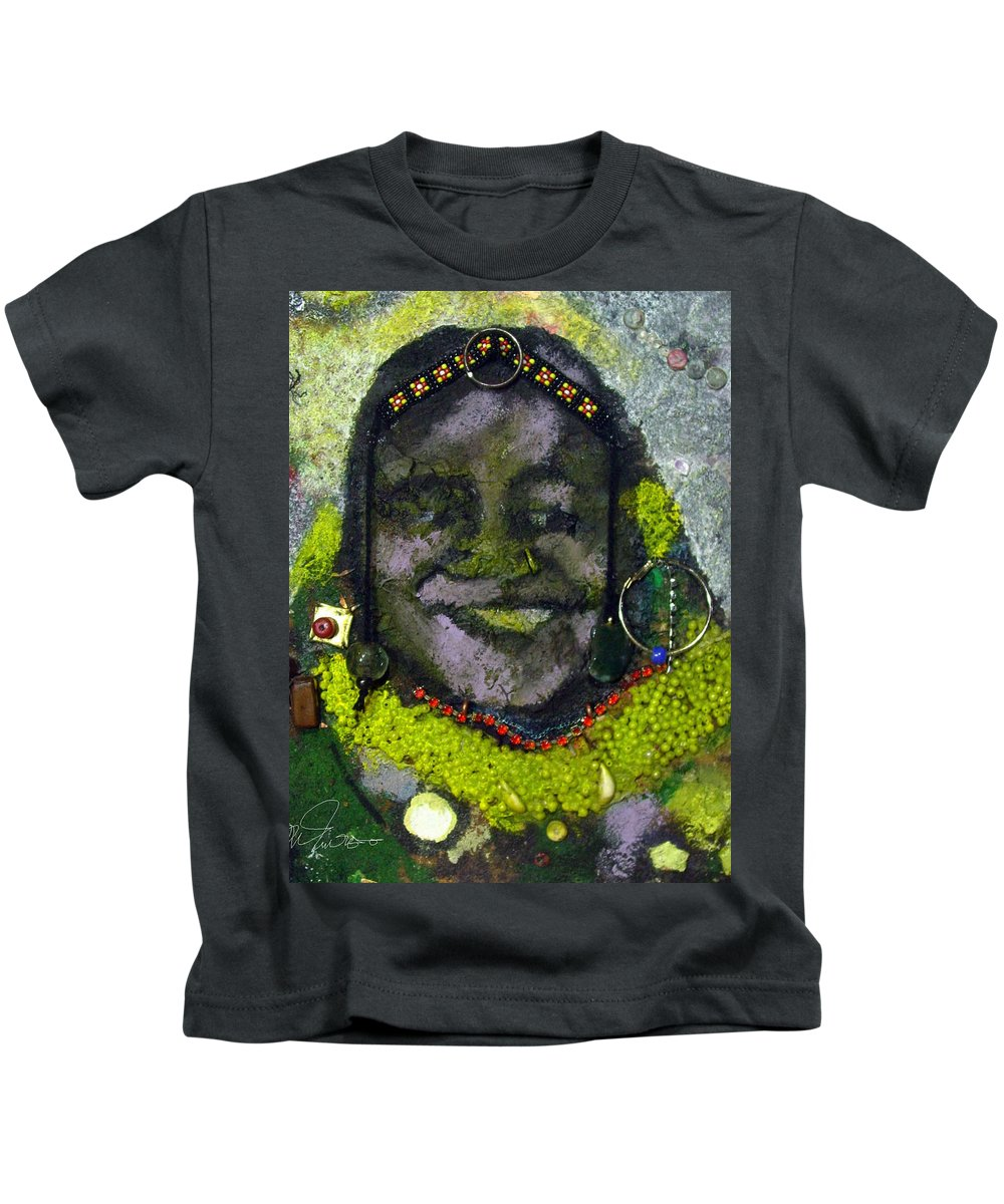 Relief Painting Kids T-Shirt featuring the painting African Bead Painting by Mohamed-saeed Omer