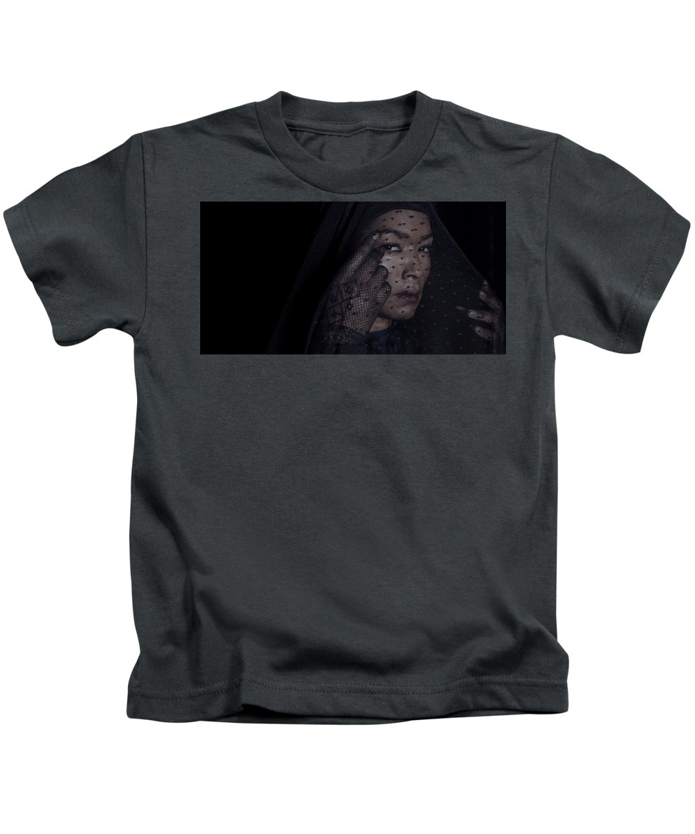 American Horror Story Kids T-Shirt featuring the digital art American Horror Story by Dorothy Binder