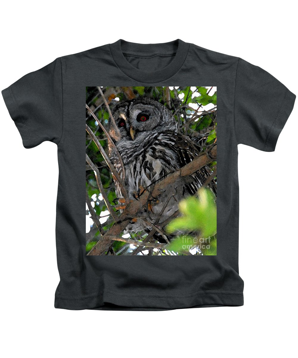 Barred Owl Kids T-Shirt featuring the painting Barred Owl by David Lee Thompson