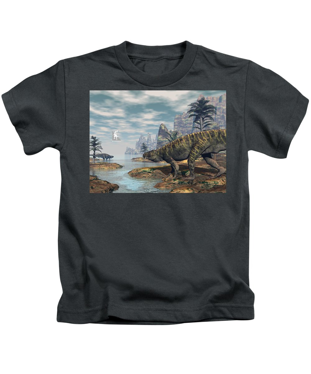 Batrachotomus Kids T-Shirt featuring the digital art Batrachotomus Dinosaurs -3d Render by Elenarts - Elena Duvernay Digital Art