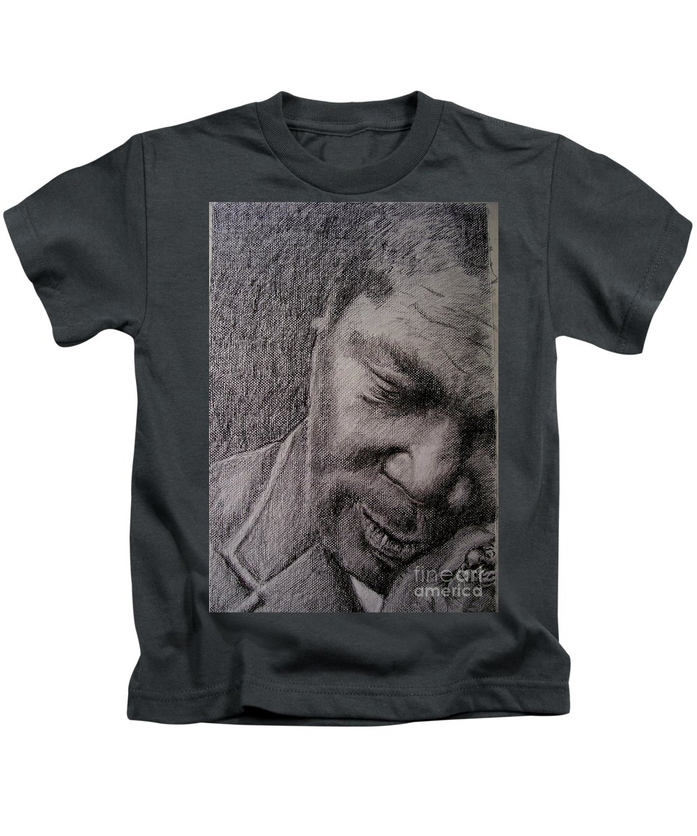 Bbking Kids T-Shirt featuring the painting Bbking by Frances Marino