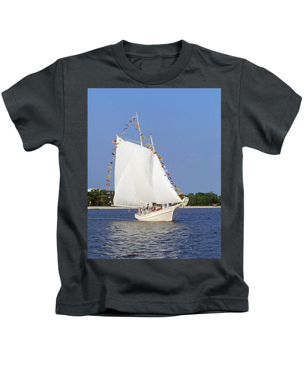 Biloxi Kids T-Shirt featuring the photograph Biloxi Schooner by Buddy Mays