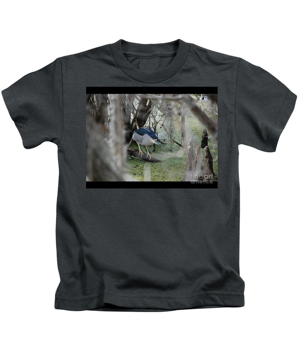 Heron Kids T-Shirt featuring the photograph Black Crowned Night Heron by Robert Meanor