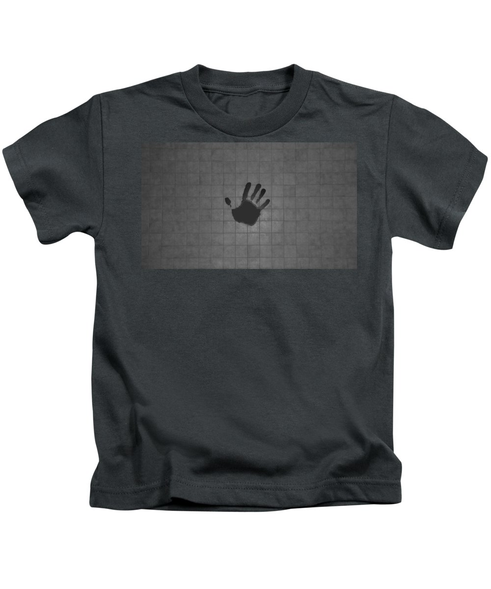 Hand Print Kids T-Shirt featuring the photograph Black Hand by Rob Hans
