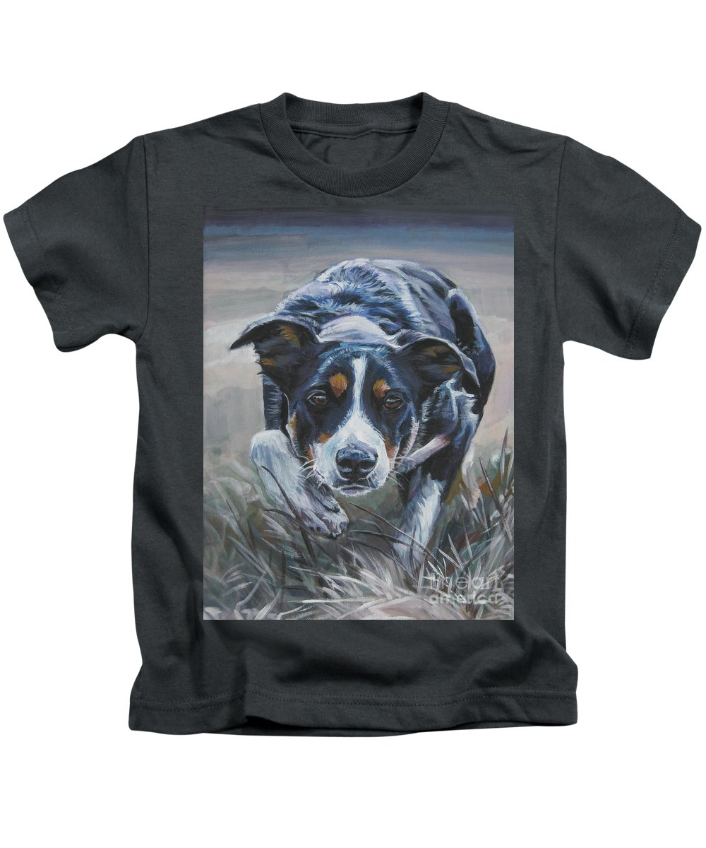 Border Collie Kids T-Shirt featuring the painting Border Collie by Lee Ann Shepard