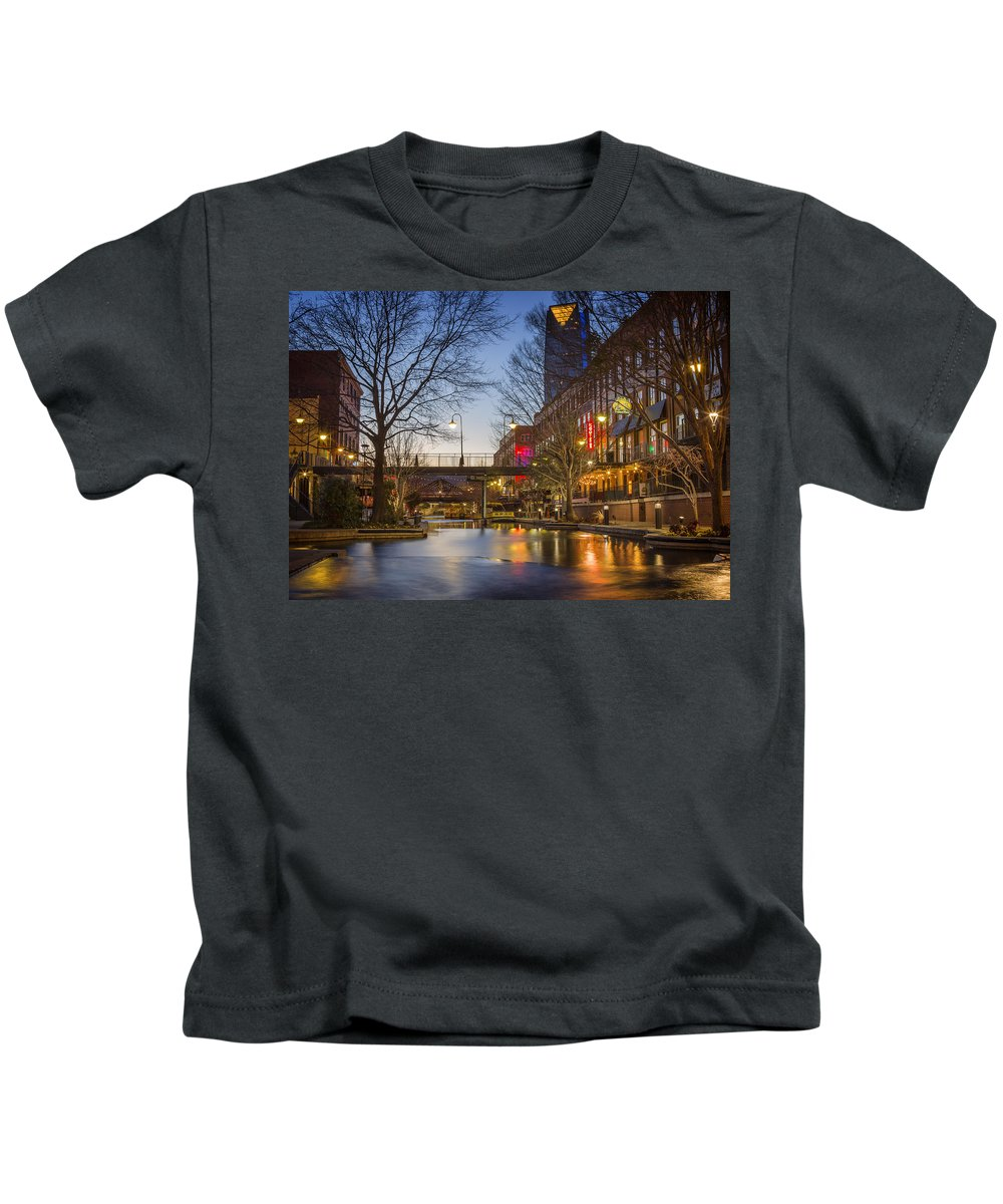 Bricktown Kids T-Shirt featuring the photograph Bricktown by Ricky Barnard