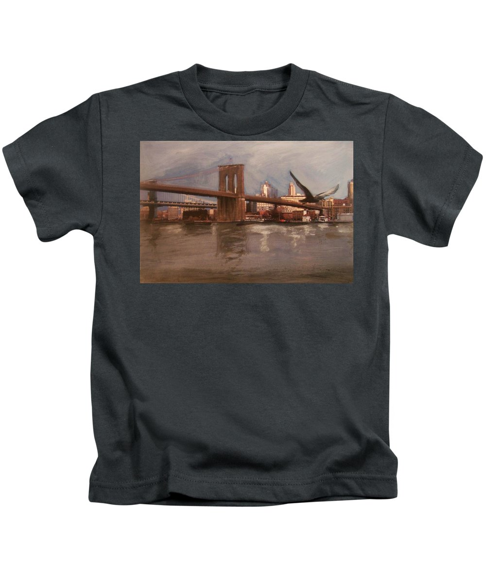 Brooklyn Bridge Kids T-Shirt featuring the painting Brooklyn Bridge by Anita Burgermeister