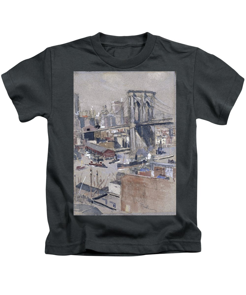 Joseph Pennell (american Kids T-Shirt featuring the painting Brooklyn Bridge by Joseph Pennell