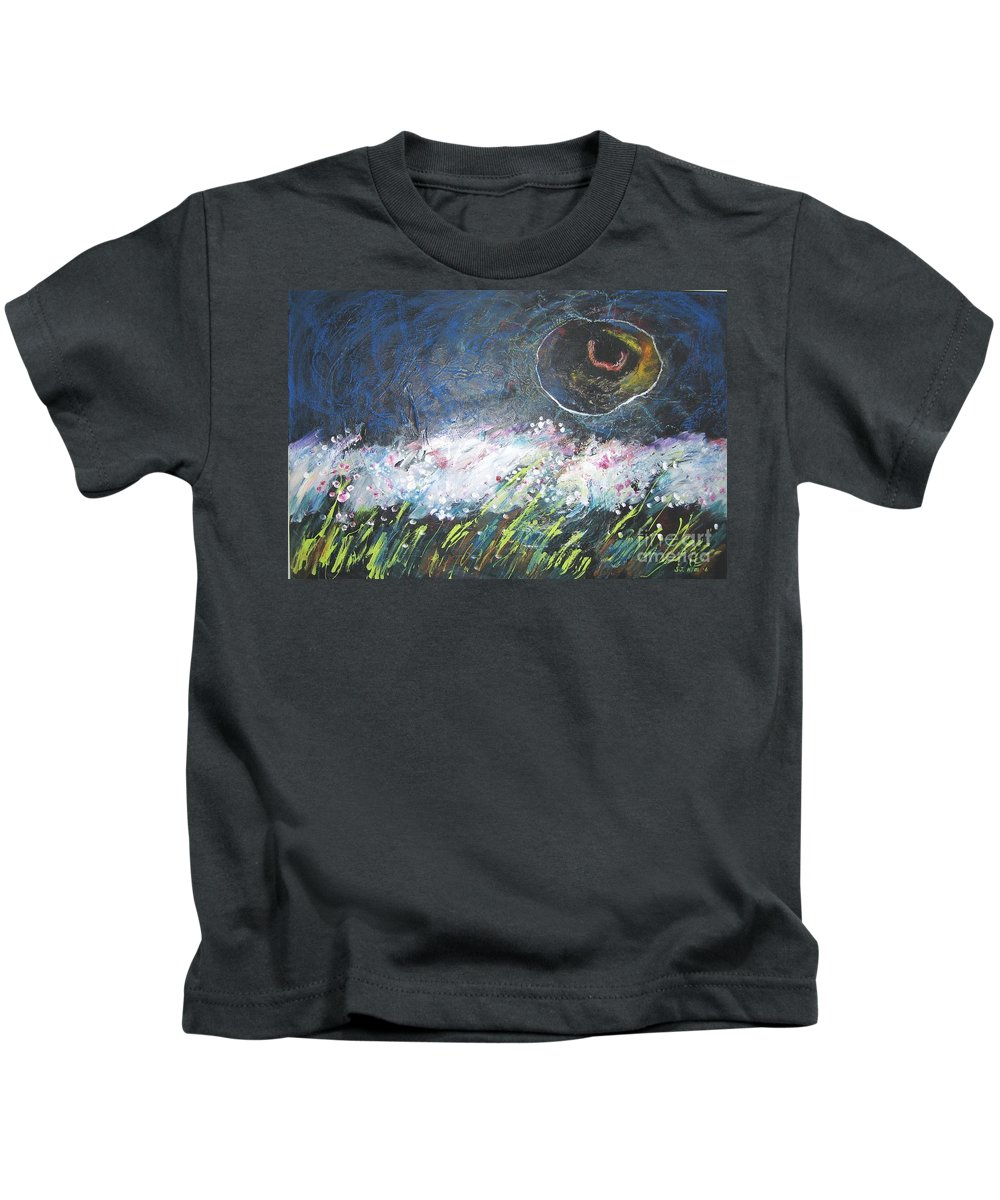 Aabstract Paintings Kids T-Shirt featuring the painting Buckwheat Field by Seon-Jeong Kim