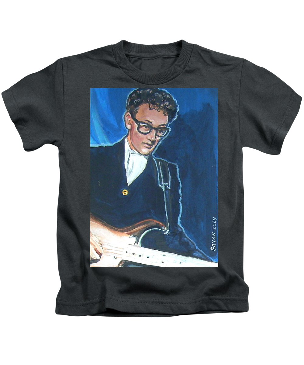Buddy Holly Kids T-Shirt featuring the painting Buddy Holly by Bryan Bustard