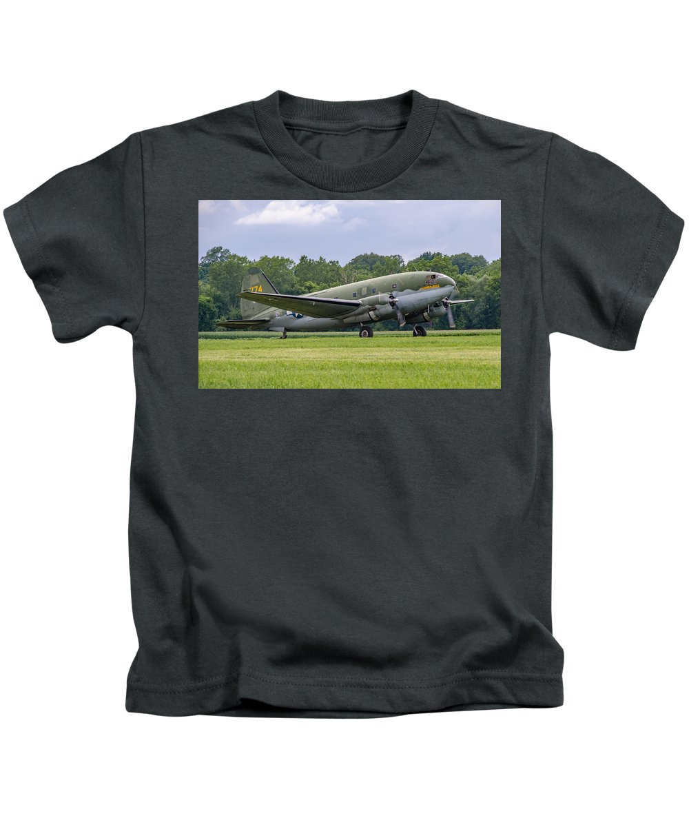 Aviation Kids T-Shirt featuring the photograph C-46 Commando Tinker Belle by Guy Whiteley