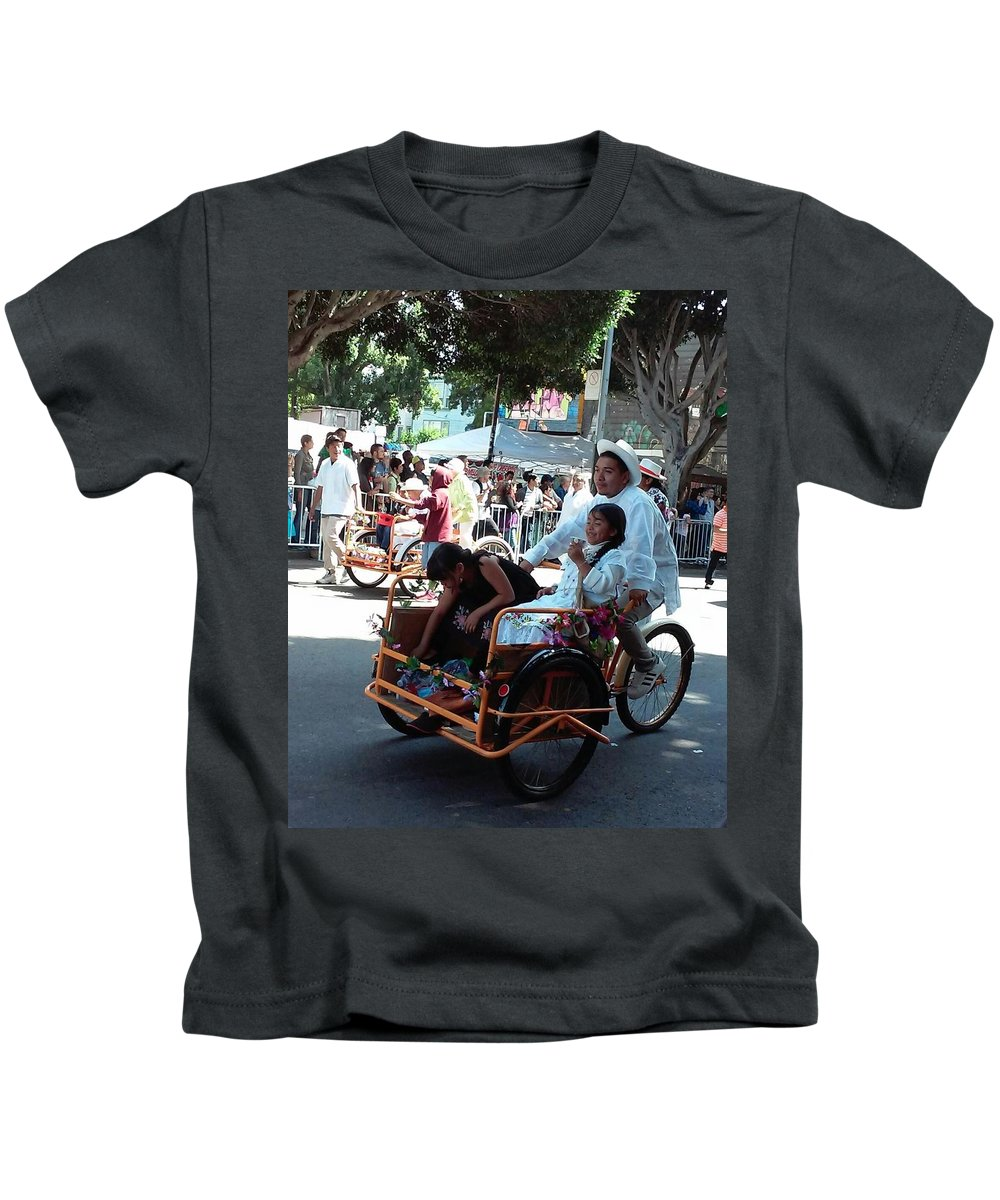 Carnaval Kids T-Shirt featuring the photograph Carnival Cart by Teresa Elizondo