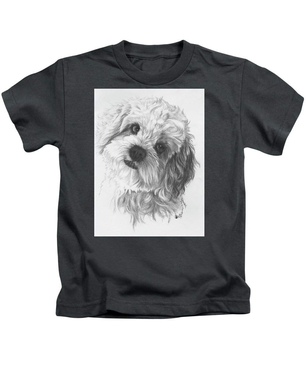 Designer Dog Kids T-Shirt featuring the drawing Cava-chon by Barbara Keith