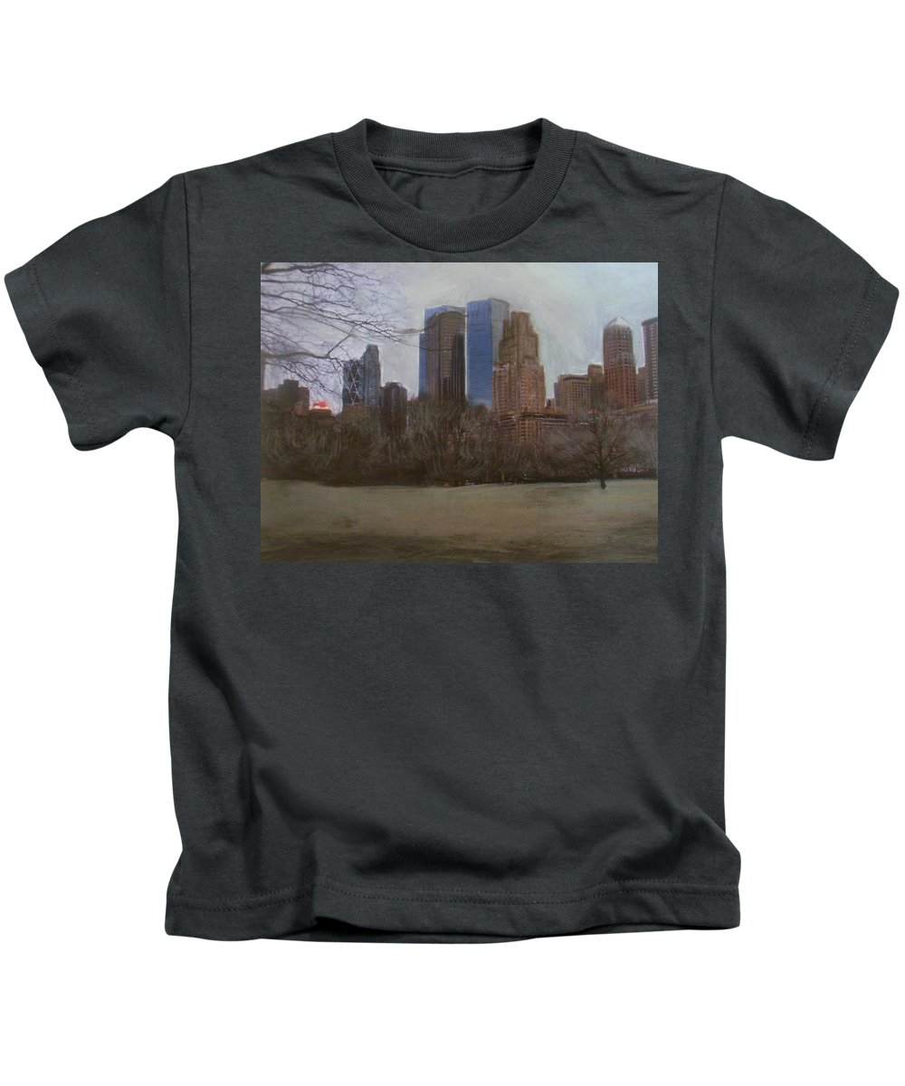 Central Park Kids T-Shirt featuring the painting Central Park by Anita Burgermeister