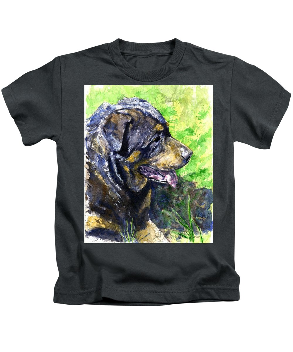 Rottweiler Kids T-Shirt featuring the painting Chaos by John D Benson
