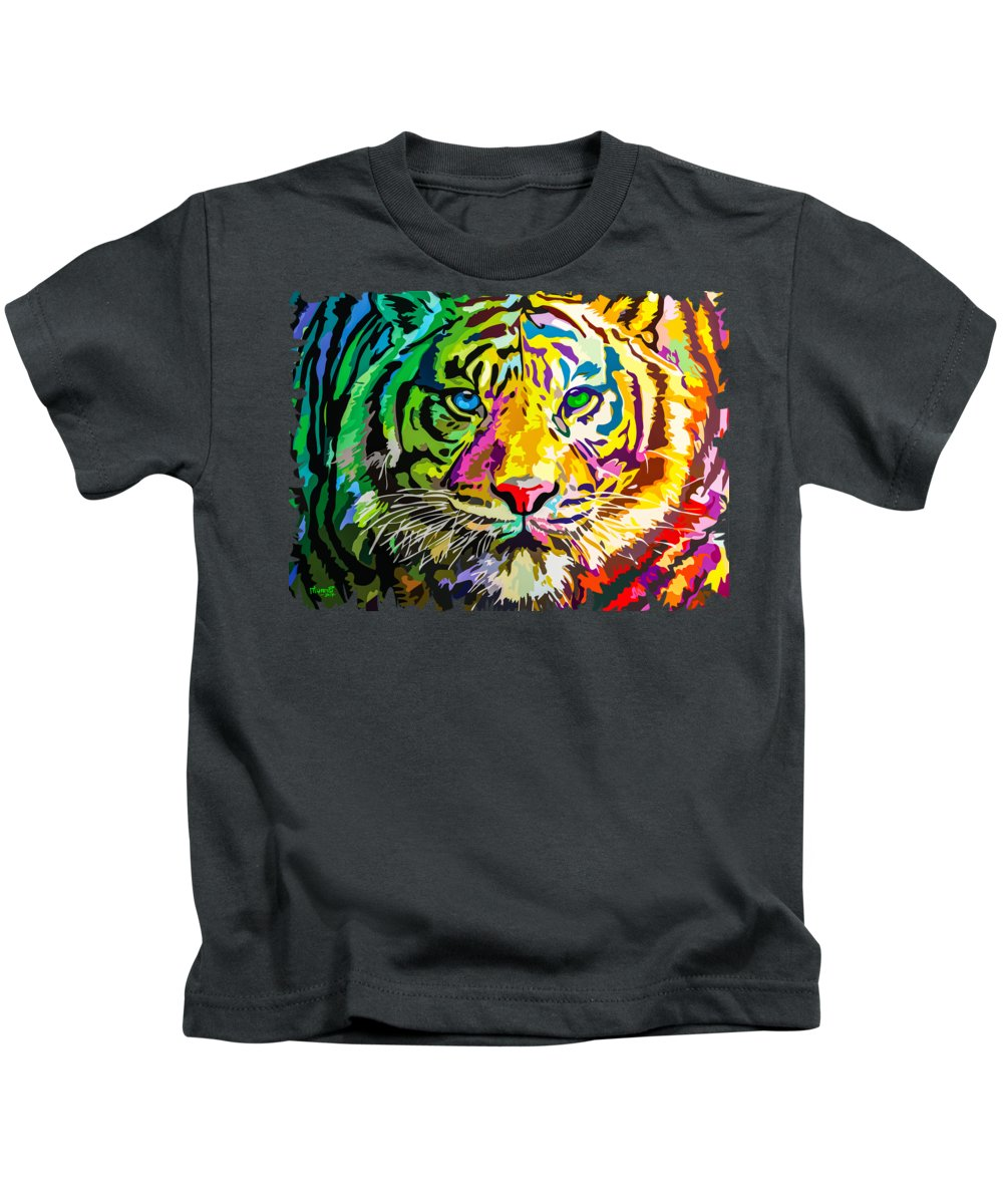 Feline Kids T-Shirt featuring the painting Colorful Tiger by Anthony Mwangi