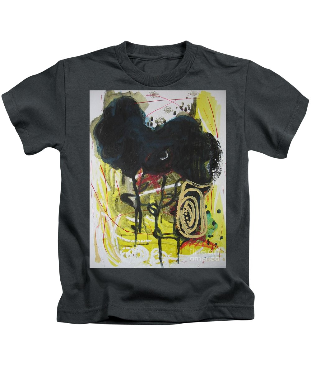 Abstract Paintings Kids T-Shirt featuring the painting Crescent2 by Seon-Jeong Kim